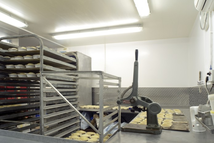 Proclad Premium Grade wall cladding in a pie preparation environment
