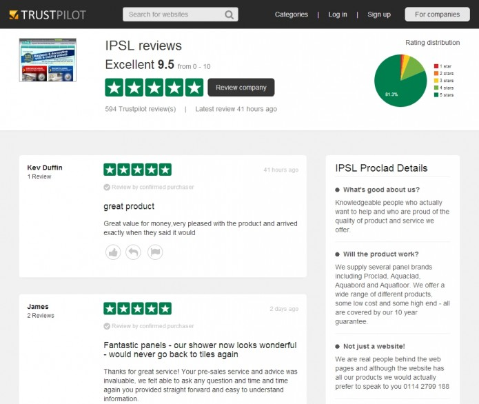 IPSL's Trustpilot page on 30th May 2014.