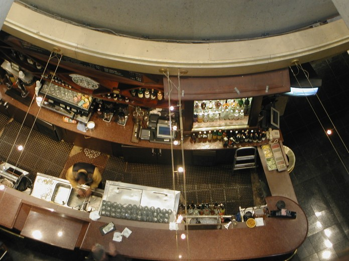 Photo of a hotel bar and kitchen, taken from above. Image courtesy of unprofound.com
